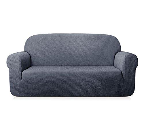 TOYABR 1-PieceSeersucker JacquardStretchyFabricDinning Room SofaSlipcoversFittedSofaProtector (Sofa, Gray) (Camelback Leather)