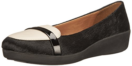 Fitflop F-pop Tm Loafer Leather - Bailarinas Mujer Negro / Nata