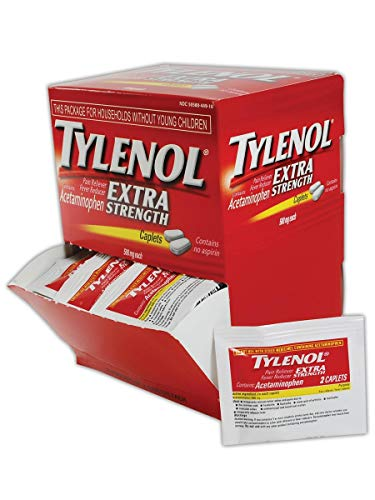 - Tylenol MP497-33 Acetaminophen Pain Relief Tablet, 500 Milligrams, Standard, Red/White, 50 Doses (100 Pills) (1 Pack)