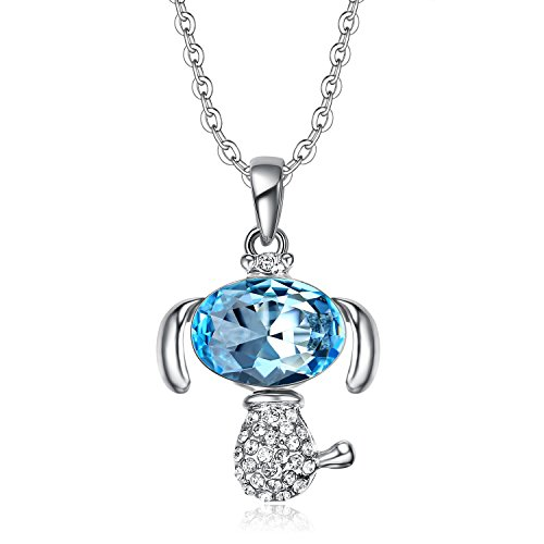 Lee Island Fashion 18K White Gold Plated Necklace with Lucky Puppy Dog Austrian Crystal Pendant,18 Inches Chain for Woman Girl Gift- Gift Packing (Blue)
