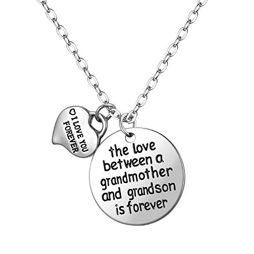 Grandma Charm Pendant - Blerameng The Love Between a Grandmother and Grandson is Forever and I Love You Forever Pendant Necklace