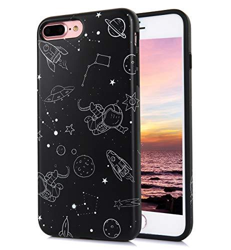 f89669f3c306e5 iPhone 8 Plus iPhone 7 Plus Case Cute Floral Funny Matt Galaxy Black  Pattern IMD Hybrid