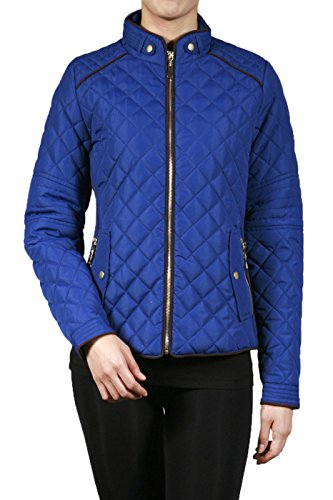 2LUV Plus Women's Plus Size Quilted Long Sleeve Zip Front Jacket – 3X Plus, Royal Blue