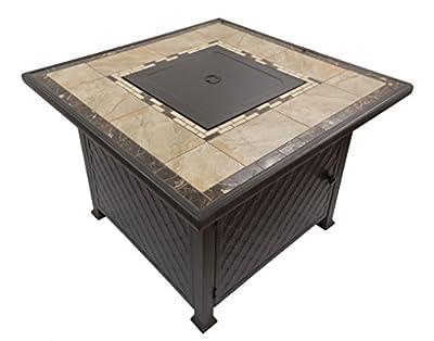 """AZ Patio GFT-51030A 40"""" Propane Square Tile Top Fire Pit, Marble"""