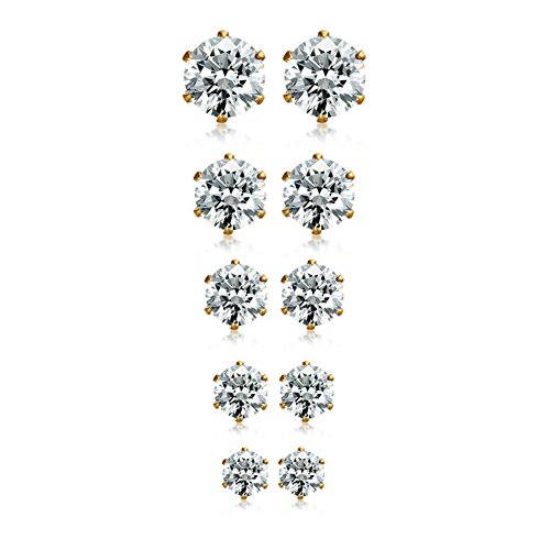 Herinos Titanium Stud Earrings Set Cubic Zirconia 5 Pairs Stainless Steel Round Gold Earrings for Women (Gold Titanium Earrings)