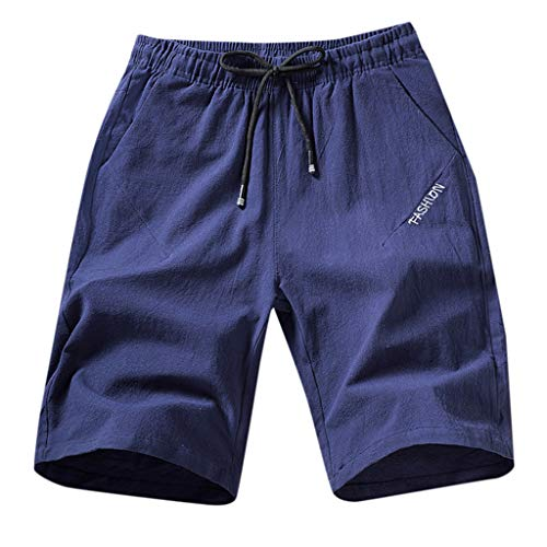 (Men's Cotton Shorts Fashion Casual Loose Solid Linen Plus Size Trousers Drawstring Beach Pant)