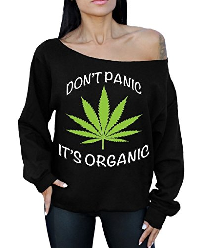 Awkward Styles Don't Panic It's Organic Off The Shoulder Oversized Sweatshirt Weed Cannabis XL Black