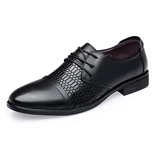 WSK Chaussures à Lacets Derby pour Hommes Chaussures en Cuir Crocodile black
