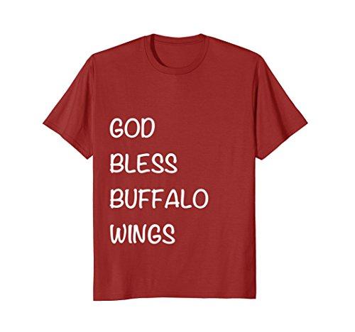 Mens God Bless Buffalo Wings - Funny Drunk Food T-Shirt Large (Buffalo Chicken Wing)