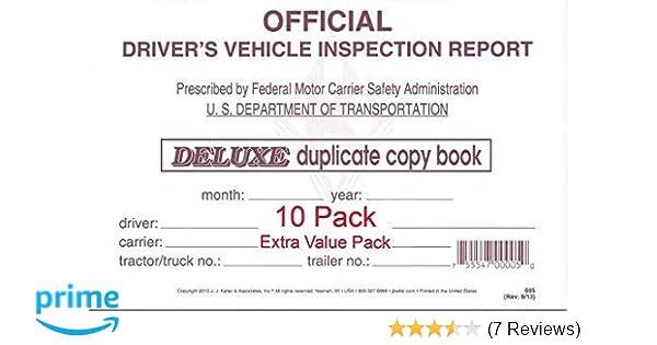 Keller 115B Detailed Drivers Vehicle Inspection Report Carbonless J 2-Ply Pack of 10 J