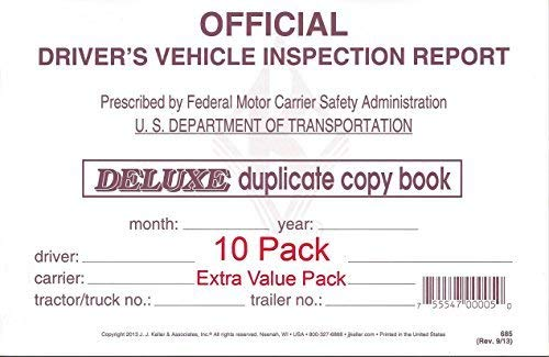(J. J. Keller 15B Detailed Drivers Vehicle Inspection Report, 2-Ply, w/Carbon - Pack of 10)