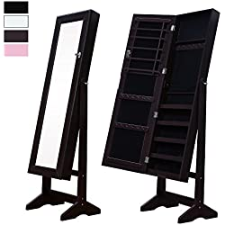 Cloud Mountain Mirrored Jewelry Cabinet Free Standing Lockable Jewelry Armoire Full Length Floor Tilting Jewelry Organizer with Mirror, 4 Angle Adjustable Organizer Storage, Espresso