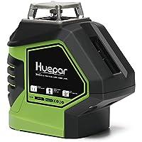 Huepar 5ライン レーザー墨出し器 レッド レーザー 赤色 クロスラインレーザー 自動補正機能 高輝度 高精度 ライン出射角360°4方向大矩照射モデル 地墨 鉛直ポイント 5ライン+2ポイントタイプ 621CR