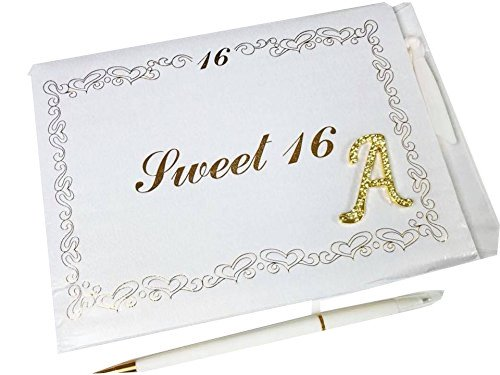 Personalized Gold Rhinestone Letter A Sweet 16 Guest Book Party Keepsake ()