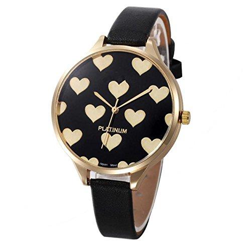 (Balakie Women's Watch, Ladies Watch Casual Heart Pattern Small Faux Leather Quartz Analog Wrist Watch Xmas Gift (Black,)