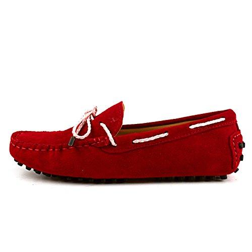 Shenduo Zapatos de cuero - Mocasines cómodos con cordones de moda para mujer D7051 Rojo