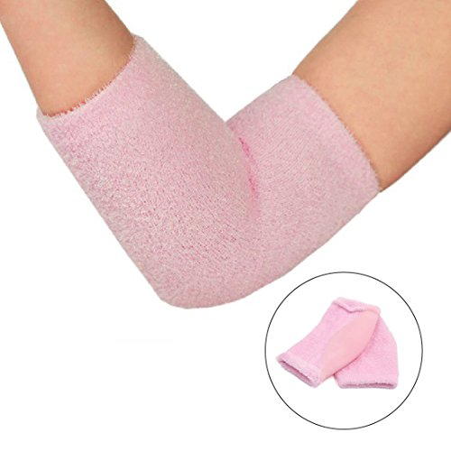 2 Pairs Soften Dry Cracked Skin Moisturizing Exfoliating Elbow Gel Cover Sleeves Pink by uxcell (Image #6)