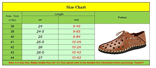 LINNUO Men's Hollow Out Sandals Lace up Summer Beach Slippers Breathable Flat Outdoor Woven Shoes for Driving Brown f0e1Bj