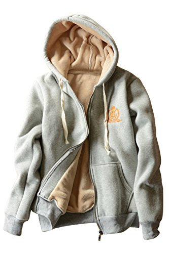 Cutiefox Womens Hooded Sherpa Bonded Fleece Zip Hoodie Jacket Light Grey L