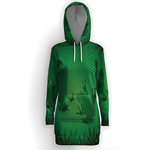 (Women's Loose Casual Tunic Sweatshirts Dress, Animal Decor,Hoodie Pullover Tops)