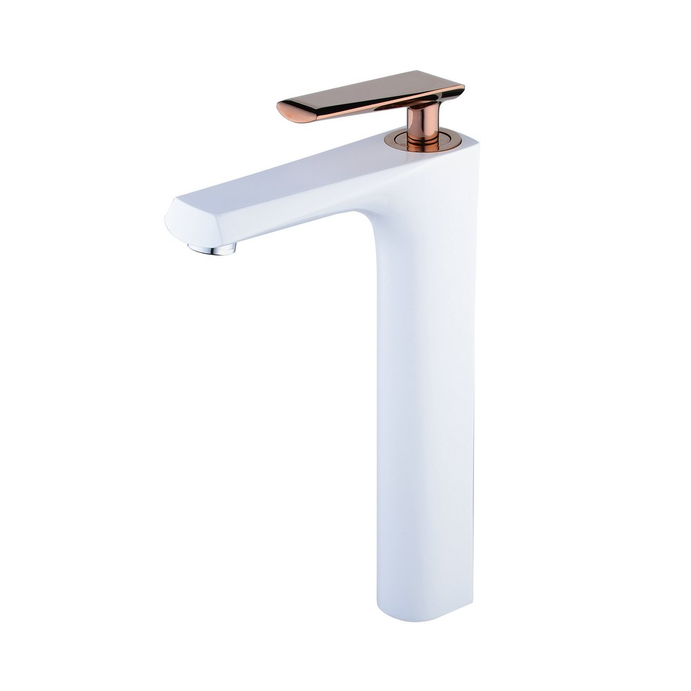 Hiendure Brass Bathroom Sink Faucet Single Hole Single Handle Countertop Mixing Tap, White Painting and Rose Gold Polished