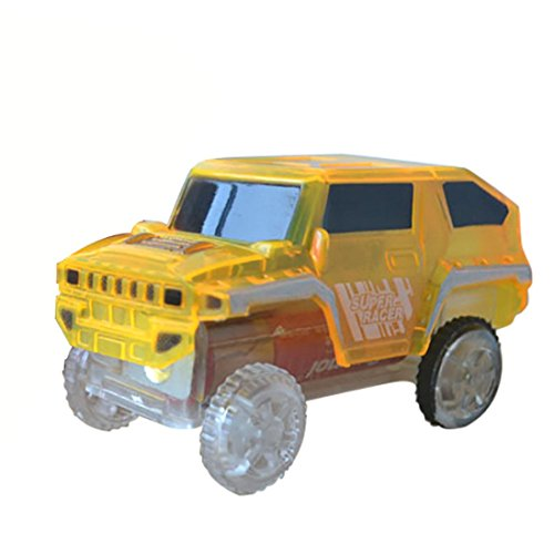 Kanzd Electronics Special Car For Magic Track Toys With Flashing Lights Educational (Yellow)