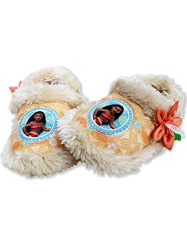 Disney Moana Toddler Girl's Plush A-Line Slippers with Faux Fur (9-10 M US Toddler, Coral)]()