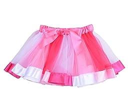 CX-Queen Girls Princess Layered Ribbon Tutu Skirt Dance Colorful Party Set M