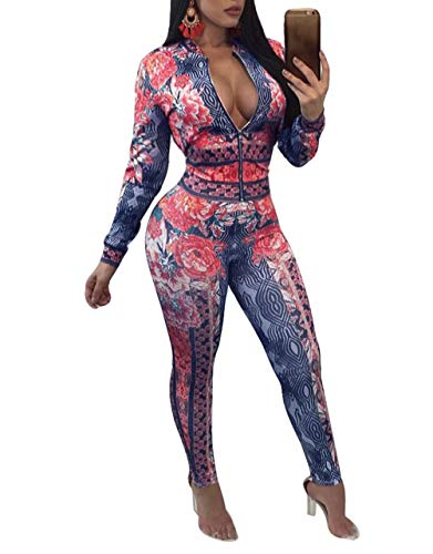 Two Piece Outfits for Women Floral Jacket + Pants Bodycon Jog Tracksuit Orange S
