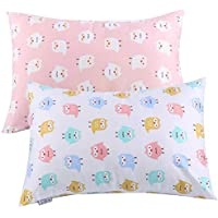 "Kids Toddler Pillowcases UOMNY 2 Pack 100% Cotton Pillowslip Case Fits Pillows sizesd 13 x 18"" or 12x 16"" for Kids Bedding Pillow Cover Baby Pillow Cases Pink/White Owl"