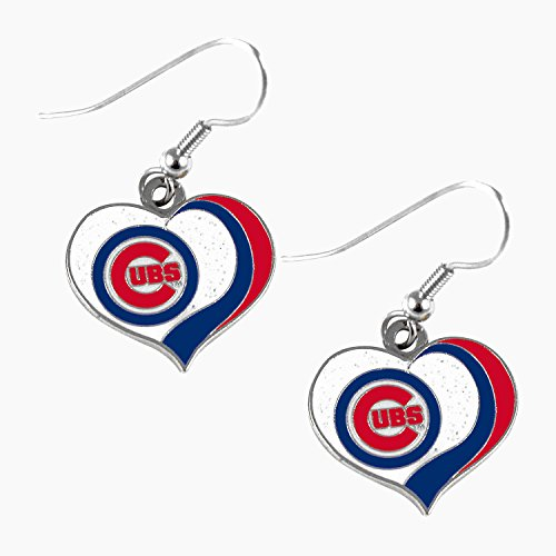 aminco MLB Chicago Cubs Glitter Heart Earring Swirl Charm Set