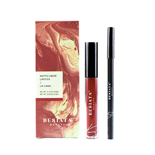 Matte Liquid Lipstick & Lip Liner Set, Hypoallergenic, Gluten-Free, Paraben-Free, Cruelty-Free, Vegan, Peck Pack (cabernet)
