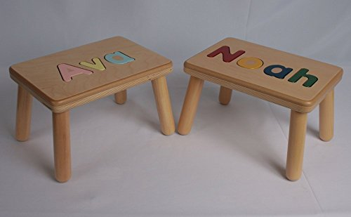 Personalized Name Puzzle Stool Bench by J and P Wood Products - Family Wooden Toy