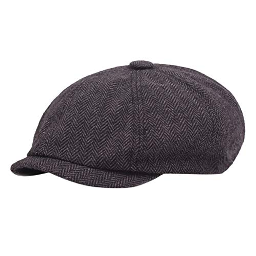 Quaanti Clearance Sale! Black Grey Herringbone Newsboy 8 Panel Baker Boy Tweed Flat Cap Mens Gatsby Hat Hot Sale (Black)