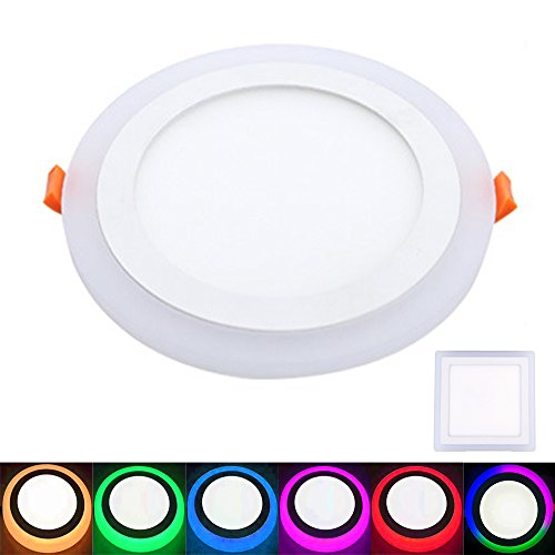 5pcs/lot Ultra Thin LED Panel Downlight AC85-260V Double Colors Round/Square LED Ceiling Recessed Lights Round 16W White(12W)+RGB(4W)