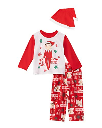 Elf of the Shelf Kids' Toddler Family Sleepwear Collection with Santa Hat, Mercury red, 2T ()