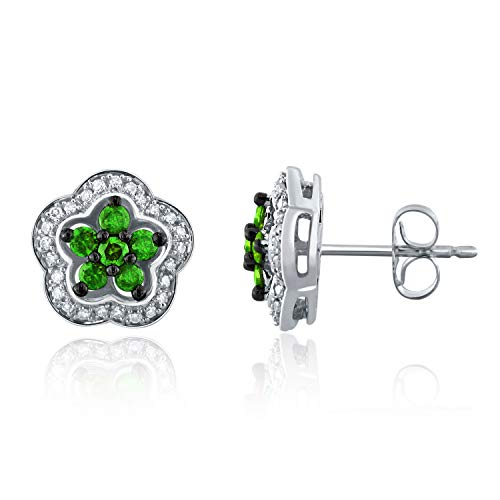 10K White Gold 0.34 Ct Green and White Diamond Star Stud Earrings with Friction Back (0.50 cttw, H-I Color, I1-I2 Clarity) ()