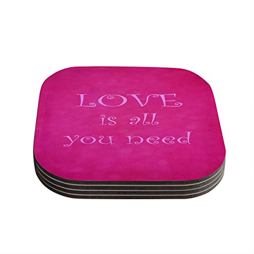 "Kess InHouse Iris Lehnhardt""Love is All You Need"" Quote Pink Coasters, 4 by 4-Inch, Pink, Set of 4"