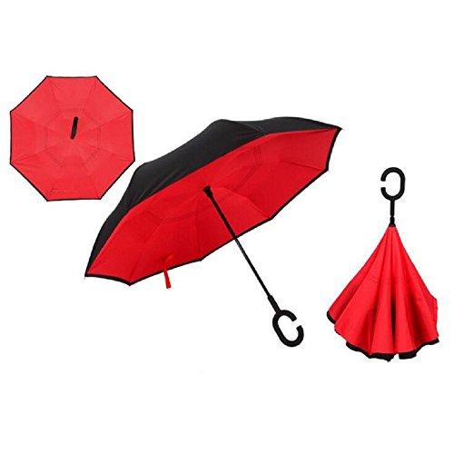 Autonorth Kreative Flip Regenschirm Doppelte Golfschirm Doppelte UV Schutz Sonnenschirme umkehren Auto Regenschirm Wasserdicht und winddicht - rot