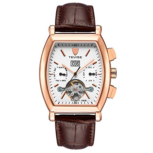 (Luxury Mens Watches Square Automatic Tourbillon Mechanical Watches Waterproof Multifunction Skeleton Kinetic Wristwatch with Date and Brown)