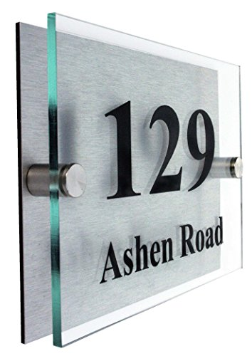 Premier Quality,Glass Look Acrylic Personalised House number Sign | 10 Year Guarantee | 2 Part Branded Acrylic with choice of Fonts.