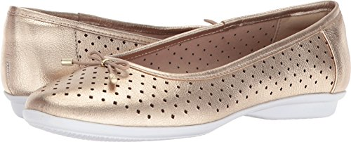 CLARKS Women's Gracelin Lea Ballet Flat, Gold/Metallic Leather, 7.5 Medium US