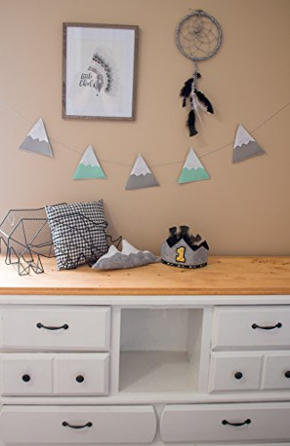 Mountain Garland - ELLA & MAX Kids Nursery Decor Mountain Garland Banner Mint and Grey Felt Bunting, Woodland Theme Nursery, Rustic Nursery Decor. Handmade in USA. (Mint and Grey)