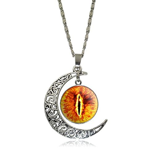Elakaka Moon Time Gemstone Retro Eye Pupils Pendant Sweater Necklace?.. ()