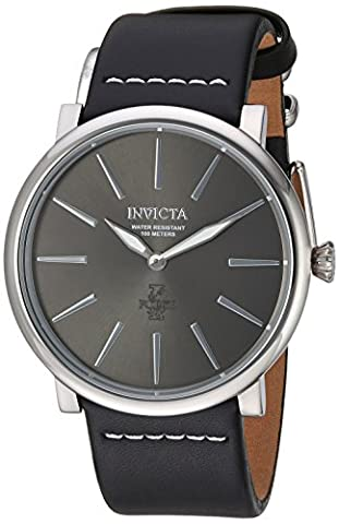 Invicta Men's 'I-Force' Quartz Stainless Steel and Leather Casual Watch, Color:Black (Model: 22930) (Invicta Watch Black Leather)
