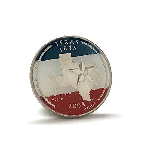 Williams Men's Executive Lapel Pin Hand Painted Texas State Quarter Coin Tie Tack Lonestar State
