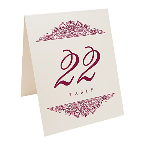 Documents and Designs Paisley Table Numbers, Champagne, Burgundy, 1-10 by Documents and Designs