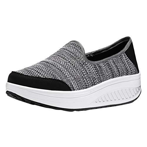 - Shusuen Women's Athletic Walking Shoes Casual Mesh-Comfortable Work Sneakers Gray