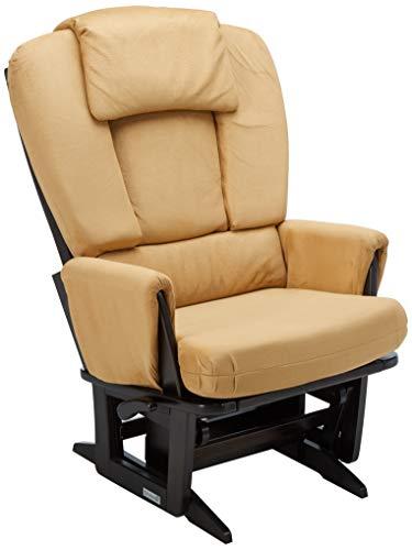 Dutailier Modern Glider - Dutailier Nursing Grand Modern Glider Chair with Built-In Feeding Pillows, Espresso/Camel