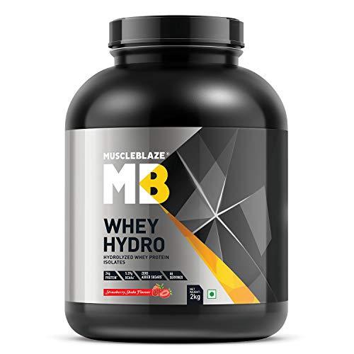 MuscleBlaze Whey Hydro Whey Protein Isolate  strawberry, 2kg / 4.4 lb
